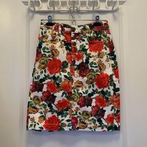 Anthropologie Maeve Floral Denim Pencil Skirt